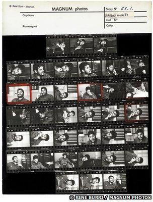 Rene Burri's contact sheet of pictures of Che Guevara
