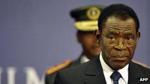 Equatorial Guinea President Teodoro Obiang Nguema on 3 November 2011