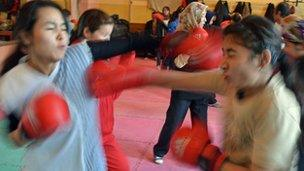 Girls boxing in Afghanistan