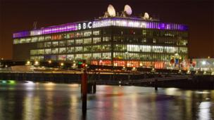 BBC Scotland building lit up at night