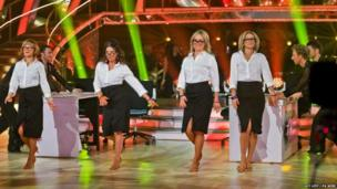 Newsreaders perform with Strictly dancers