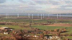 Wind Farms near Frodsham. Artist impression