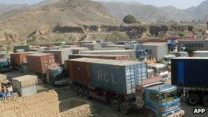 Lorries at the Torkham border between Pakistan and Afghanistan