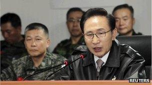 South Korean President Lee Myung-bak speaks during his visit to the Northwest Islands Defence Command in Hwaseong, November 23