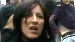 Woman in the tram