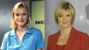 Julie Etchingham on the Newsround set in 1997 (left) and in her current job at ITV News (right)