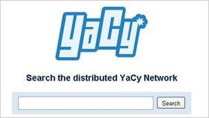 Screengrab of YaCy demo page, Free Software Foundation Europe