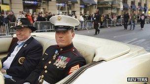 Dakota Meyer at a Veterans Day parade 11 November 2011