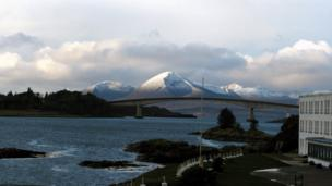 Snowcapped mountains on the Isle of Skye