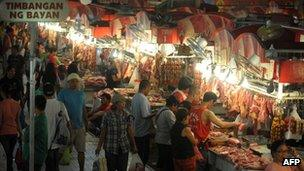 Food market in Manila where prices have been rising