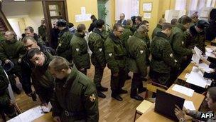 Interior Ministry troops voting