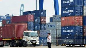 Containers at the port of Tianjin