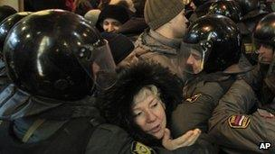 Protesters clashing with police on 7 December