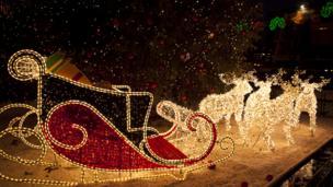 Reindeer and sleigh Christmas lights