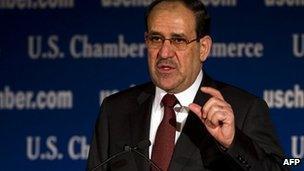 Iraqi PM Nouri al-Maliki at the US Chamber of Commerce, Washington DC (13 Dec 2011)
