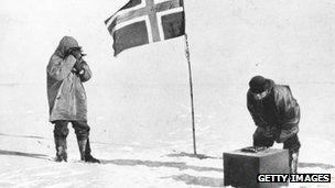 Roald Amundsen at the South Pole