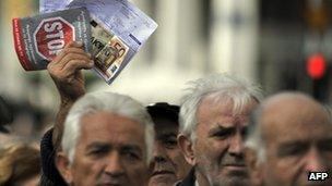 Pensioners march in the centre of Athens on 15 December 2011
