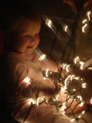Setting up the Christmas lights