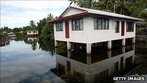 Flooded area around building