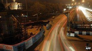 Construction site for Delhi's metro rail network