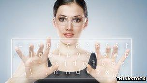 Futuristic keyboard in the air
