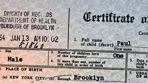 A detail from Joann Prinzivalli's birth certificate