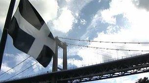 The Cornish flag and Tamar Bridge
