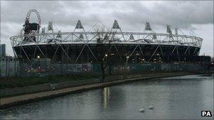 New Year's Day dawns over the Olympic Stadium