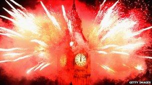 Fireworks go off around Big Ben to welcome in 2012 in London