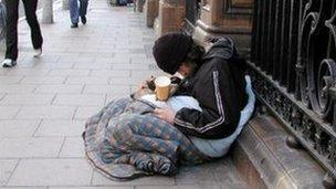 Homeless man on the streets