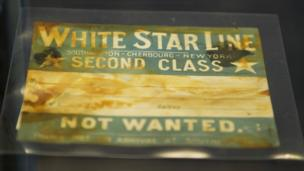 """""""White Star Line Second Class"""" ticket close up."""