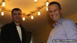 The original photo of Alexei Navalny (right) with Mikhail Prokhorov