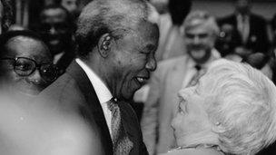 Janey Buchan greeting Nelson Mandela at the European Parliament