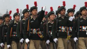 Female soldiers practising march in New Delhi