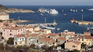 A view of the ship from Giglio
