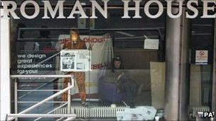 Occupy London protesters inside Roman House