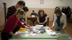 Votes being counted at a polling station in Zagreb