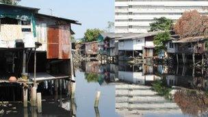 Illegally built homes along Bangkok's waterways stop floodwater dispersing