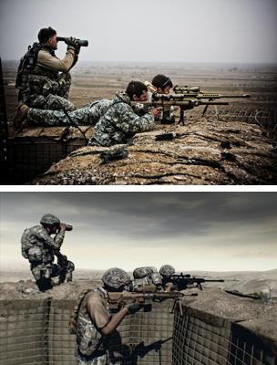Sniper team from Stryker Brigade, US Army target insurgents from firebase GhundeyGhar near Highway One in Kandahar province, Afghanistan by John Cantlie (top) Still from the game Arma 2 (bottom)