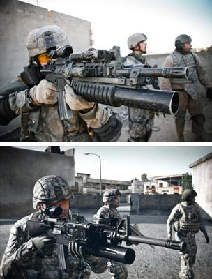Photograph of 1st Infantry Division by John Cantlie (top) Still from Arma 2 (bottom)