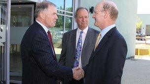 SLC chief executive Ed Lester, former SLC chairman Sir Deian Hopkin, and Universities Minister David Willetts