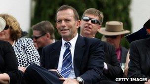 File picture of Australian Opposition Leader Tony Abbot at the Royal Military College Duntroon where Queen Elizabeth II presented the new colours on 22 October, 2011 in Canberra, Australia
