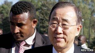UN Secretary General Ban Ki-moon in Addis Ababa on 29 January 2012