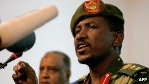 File picture of Sudanese army spokesman Sawarmi Khaled Saad in Khartoum on 25 December, 2011