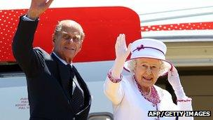 The Queen and Prince Philip wave farewell to Australia at Perth International Airport on 29 October 2011