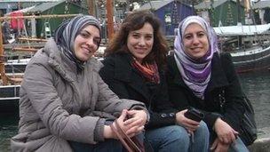 The co-founders of the SuperMama website - Yasmine El-Mehairy, Shereen El Sammaa, and Zeinab Samir
