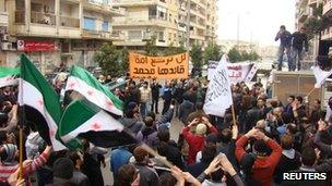Photo purportedly showing protest in Homs at the funeral of two people (31 January 2012)