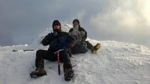 Chris and Chris at the summit of Beinn Bhuidhe