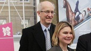 Sir David Higgins, left, at a recent event with Transport Secretary Justine Greening