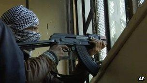 Fighter from Free Syrian Army in Homs. 7 Feb 2012